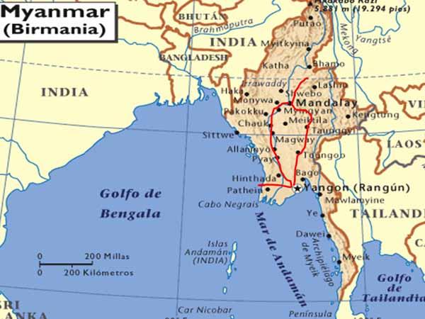 birmania mapa itinerario grande